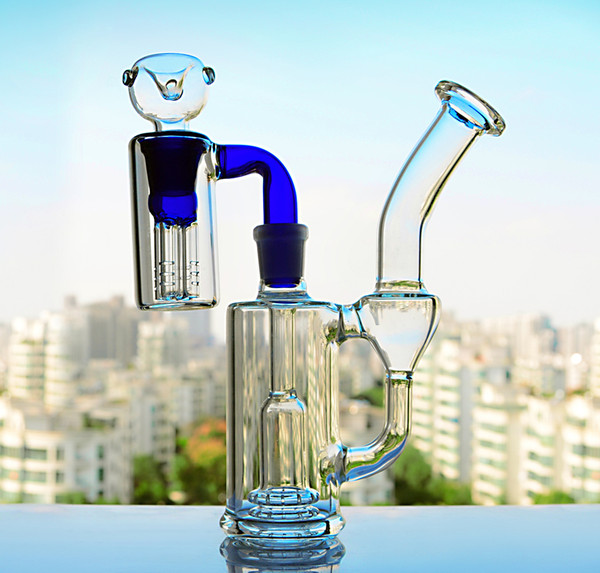 TORO Heady Glass Bong diffuse arm tree stereo Perc With 14mm joint ash catcher Adapter Bowl bubber Water Pipe Concentrate Oil Rigs