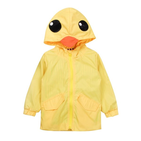Toddler Kids Baby Girl Boy Cappotto Capispalla Ragazzi Ragazze Top Yellow Duck Hooded Trench Jacket Windbreaker Clothes