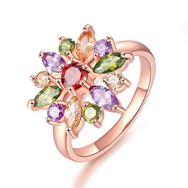 2017 New Unique Fashion Multicolor Flower Engagement Rings Rose Gold Color Fashion Vintage Jewelry for women