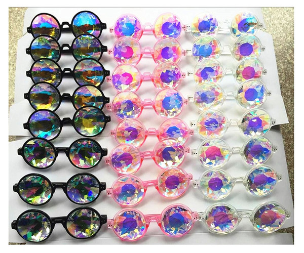 best selling Fashion Geometric Kaleidoscope Glasses Rainbow Rave Lens Bling Bling Prism Crystal Diffraction Sunglasses Black Pink Clear 100Pcs