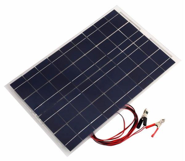 18V 30W Portable Smart Solar Power Panel Car RV Boat Battery Bank Charger Universal W/Alligator Clip