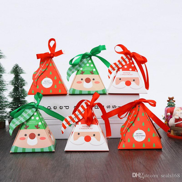 Christmas Sweet Candy Boxes Gift Wraps Papers Bags Xmas Party Wedding Tray Packaging Box With Ribbon Rope Table Decoration DHL HH7-1856