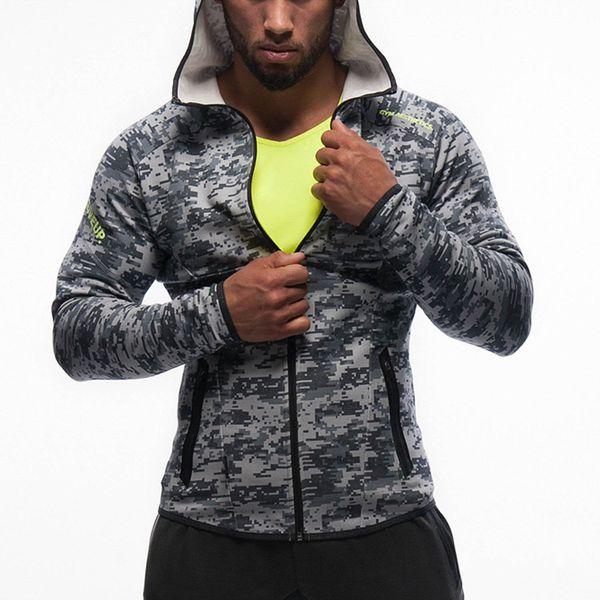 Maglione con cappuccio Fitness Brothers Camouflage Maglione Primavera e autunno Abbigliamento sportivo da uomo con cappuccio manica lunga Slim Felpa