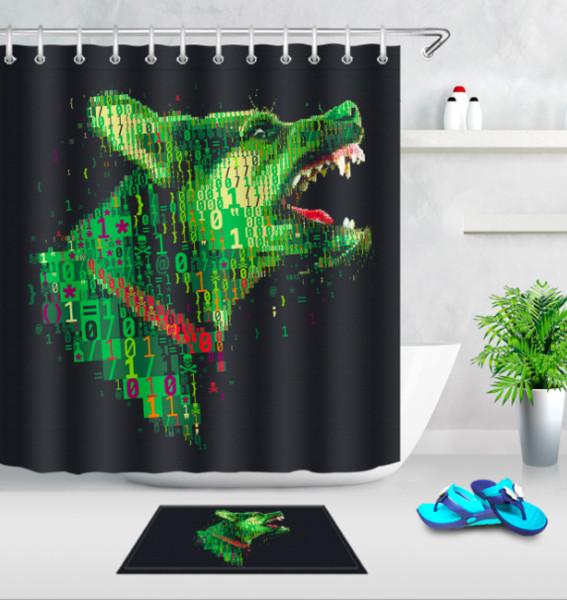 Digital Dog Print Eco-friendly Shower Curtain Modern Bathroom Decor 3D Printed Waterproof Polyester Cloth Curtains +Bath floor mats