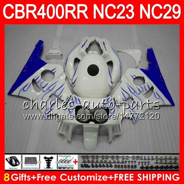 Kit For HONDA CBR400 RR NC23 CBR400RR 94 95 96 97 98 99 Blue flames 80HM86 CBR 400 RR NC29 CBR 400RR 1994 1995 1996 1997 1998 1999 Fairing