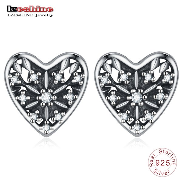 wholesale Authentic 100% 925 Sterling Silver Earrings Hearts of Winter Earring Studs For Women & Girls Fashion Gift PSER0123-B