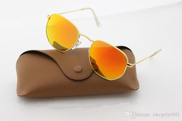 2018 Soscar Round Vintage Sunglasses for Men Women UV400 Metal Frame Flash Mirror Lenses Brand Designer Gafas with Full Accessories