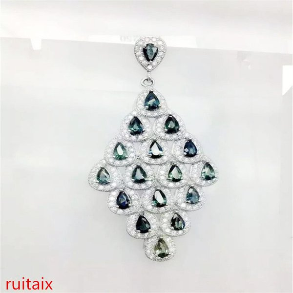 KJJEAXCMY butik jewels S925 gümüş kakma doğal safir bırak kakma elmas kolye + kolye kolye hediyeler