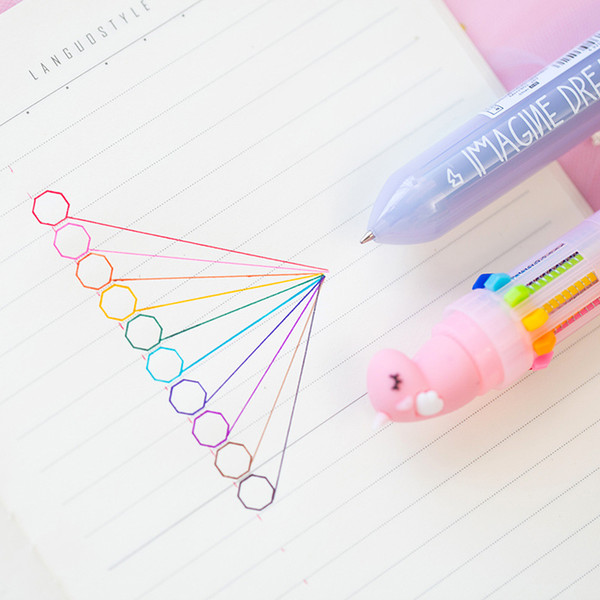24 pcs/Lot Rainbow unicorn ballpoint pen 10 color refill marker liner Kawaii toys Stationery Office school supplies FB006