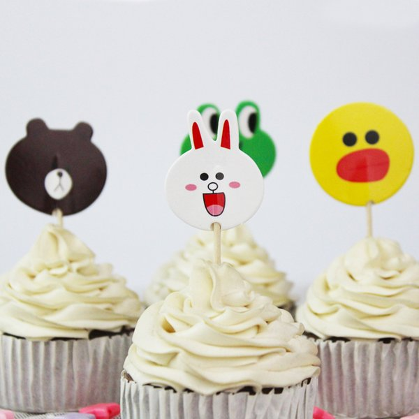 wholesale 720pcs/lot Cartoon Duck Bear and Rabbit Cupcake Toppers Picks Kid Birthday Party Decorations Evnent Party Favors