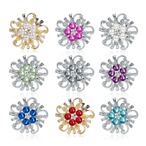 5pcs/lot Wedding Brooches With 8 Styles For Family Friend Best Gift Jewelry Accessories Pins Brooches Silver Pearl Crystal Rhinestone Decor