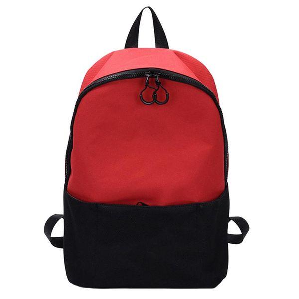 Fashion Unisex Students Canvas Hit Color Backpack Korean Tide Students Zipper School Bag Travel Bags For Teens Book Bag