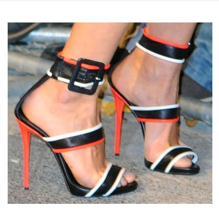 2018 European and American high-heeled spell color word buckle catwalk show catwalk thin strap shoes fashion genuine leather women sandals