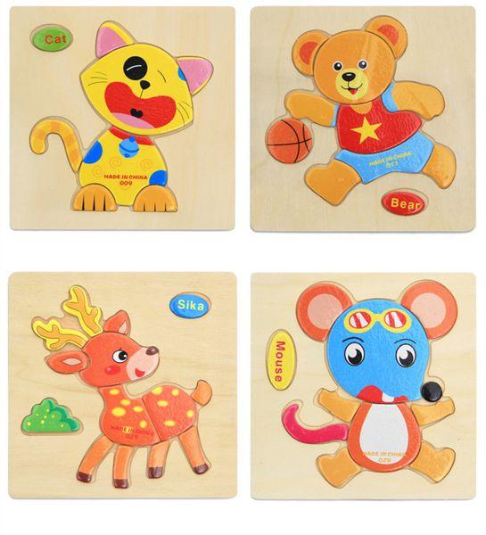 I giocattoli educativi di legno divertenti dei bambini del blocchetto di puzzle dei puzzle di legno di apprendimento preliminare giocano i regali della miscela dei giocattoli 10pcs / lot