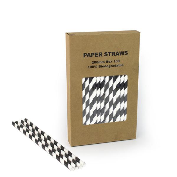 Il trasporto libero 100pcs / box in bianco e nero striscia di carta paglia a strisce Chevron Polka Dot Cannucce per la festa di compleanno di nozze decorativa