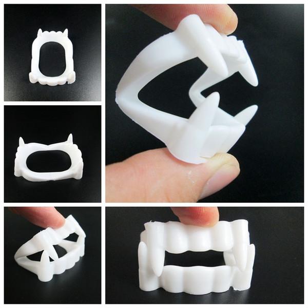 Yeni Beyaz Sahte Vampir Dişleri Çevre Dostu Plastik Protez Diş Cadılar Bayramı Partisi Cosplay Cadılar Bayramı Parti Malzemeleri