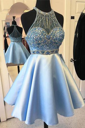 Short Prom dress Light Sky Blue Halter Sheer Neck With Sparkly Crystal Rhinestones A line Satin Backless Homecoming Cocktail Dress Gowns