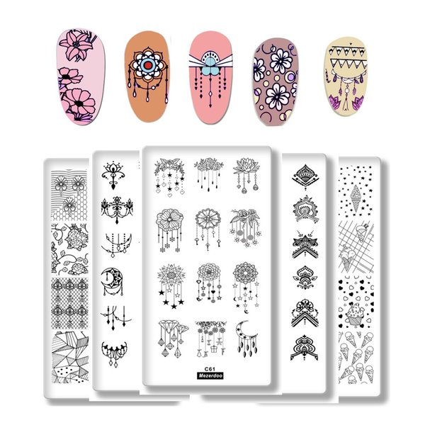 1Pcs Cartoon Animals Geometric Various Pattern Nail Art Image Stamp Stamping Plates Swan Cat Nails Templates DIY Plate Tools