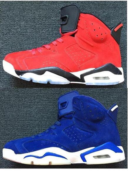 Alta calidad 6 de gamuza roja azul de gamuza hombres zapatos de baloncesto 6 s de gamuza zapatillas rojas y azules con caja