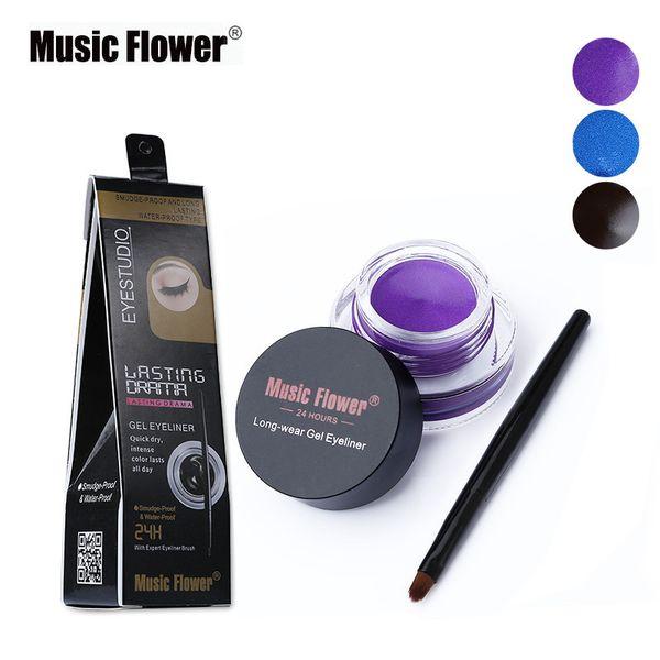 Gel Eyeliner Eyes Makeup Music Flower Brand Cosmetic Black Brown Waterproof 24 Hours Long lasting Eye Liner Gel with Brush