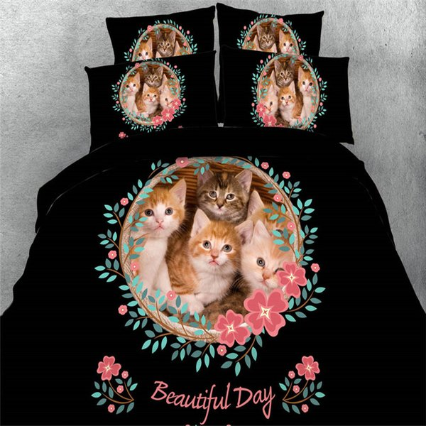 Cotton Soft Cute Cats Flower Print Duvet Cover 3d Black Bedding Sets Teens Kids Boys and Girls Twin Queen king size Bed in A bag