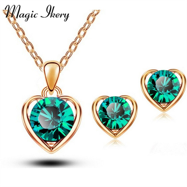 ostume jewelry set Magic Ikery Gold Silver Color Crystal Heart Fashion Costume Jewelery Bridal Jewelry Sets For Women Necklace Earrings S...