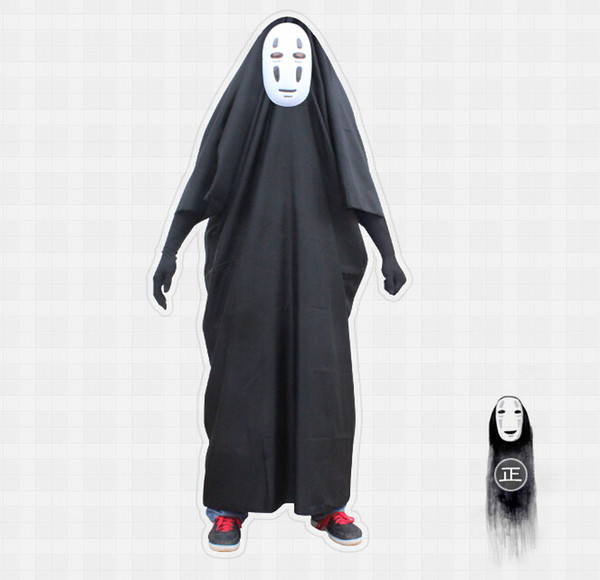 Spirited Away Spirited Hommes sans visage Combinaisons Cosplay Costumes Ensemble complet Halloween Costume (Robe + Gants + Masque)