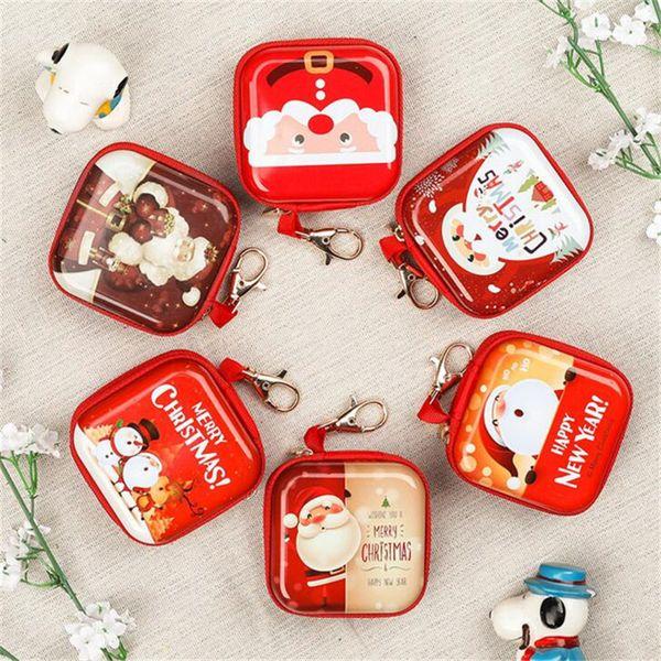 Christmas Cartoon Coin Purse Christmas Tree Hanging Balls Ornament Santa Claus Gift Mini Wallets Candy Bag Key Pouch Pendant Earphone Cases