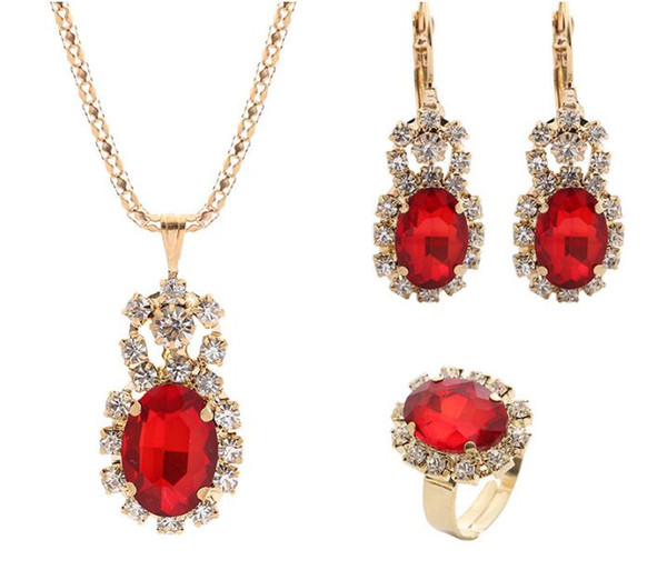 2019 Hot sales Bridal Jewelry Set fashion Gold Ellipse Luxurious crystal gemstone Earrings Ring Pendant Necklace 7 color selection