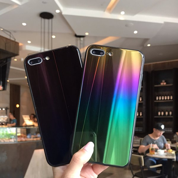 Colorful Phone Case For iPhone 8 8plus gradient Laser Rainbow Shining Case For iphone 7 6 6s Plus X Soft TPU Back Cover