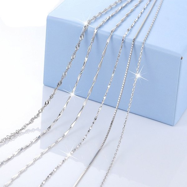 Almei Tested 925 Sterling Silver Chain Kinds of Types Box Snake Twisted Singapore Link Rolo Figaro Rope Chain Match with Pendant