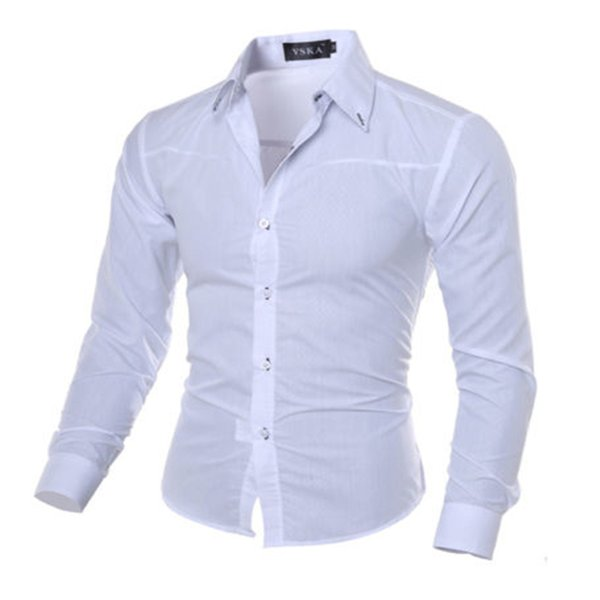 Mens Long Sleeve Slim Fit Dress Shirt Business Work Luxury Formal Casual shirt Single Breasted Plaid Turn Down Collar Cloth