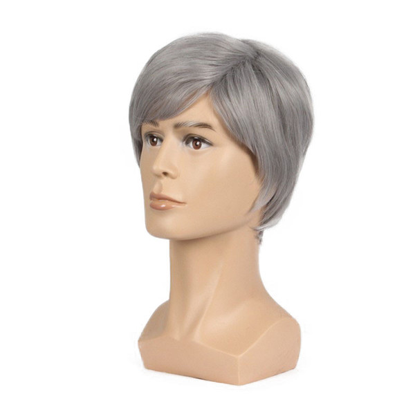 Hot &Fashion Men Wig 6inch Short Gray Color Natural Hair Male Straight hairStyles Heat Resistant Fibe rFull Wigs
