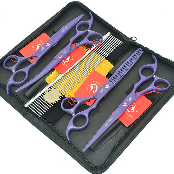 Meisha 7.0 Inch Stainless Steel Curved Dogs Cutting Shears Purple 18 Teeth Pet Thinning Scissors Groomer Hair Trimming Clipper Kits HB0180