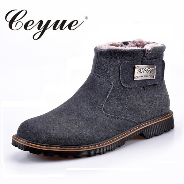 Ceyue Boys Winter Shoes Rubber Sole Style Non-Slip Snow Boots Hook&Loop Handmade Mens Casual Shoes Breathable Sewing Short Boots