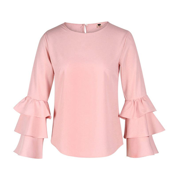 Causal Women Blouses Shirts Elegant Ladies O-Neck Flounce Long Sleeve Solid Blusas Casual Loose Ladies Sexy Tops LJ5463E