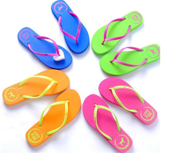best selling 5 Colors Girls Pink Flip Flops Love Pink Sandals Pink Letter Beach Slippers Shoes Summer Soft Beach Slipper Y152