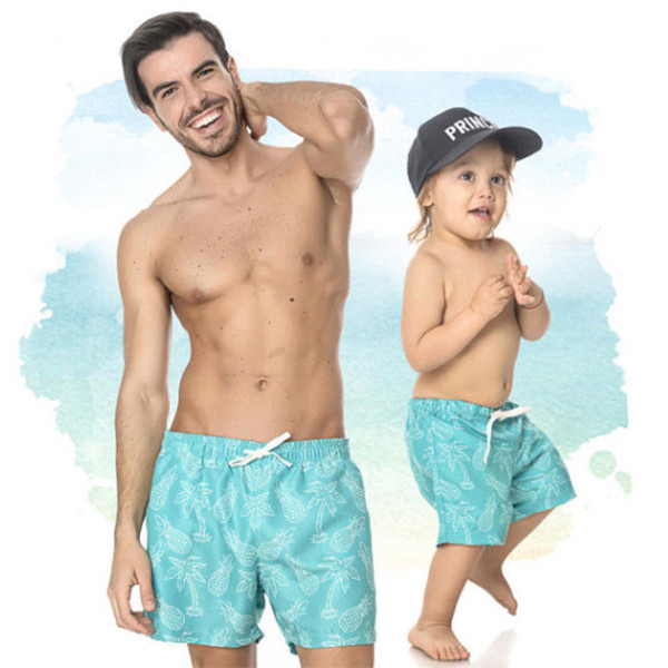 Summer Family matching clothes Mens swimming shorts Boys swimwear Summer Holiday Beach Casual Swim Trunks New