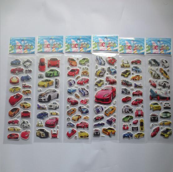 Cartoon Car stickers PVC Environmental Sticker for kids boys children learning toys awards