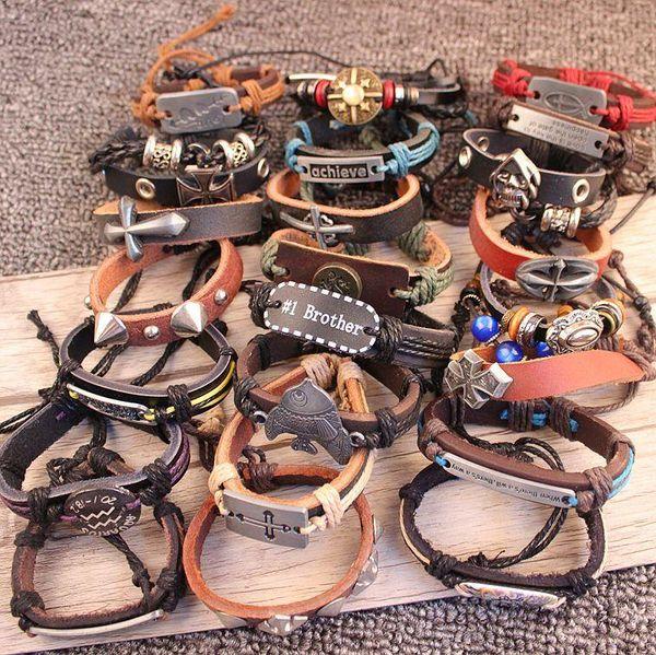 Bracciali uomo avvolgere il bracciale in multistrato di vera pelle con braccialetti con ciondoli di Natale fatti a mano con corda intrecciata