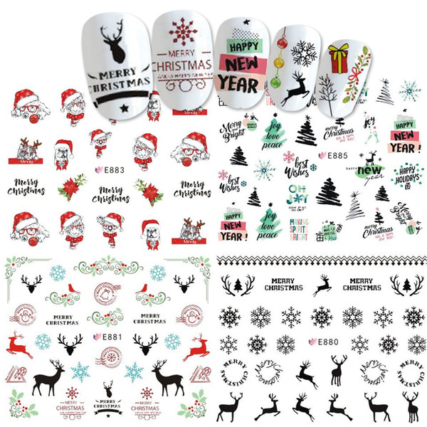 1pcs Sliders Nail Wrap Christmas 3D Stickers Nail Art Decorations Santa Transfer Decals Accessories Tip Manicure Tool BEE875-885