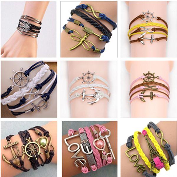 best selling 2018 45 styles bracelets infinity bracelets Love Believe Pearl Friendship Charm Multilayer Charm Leather Bracelets for women