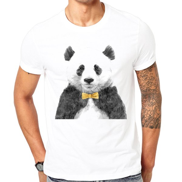 Novelty Printed Sketch Panda Design Men T Shirts 2018 New Fashion Summer Short Sleeve T-shirt Boy White T-shirt Harajuku