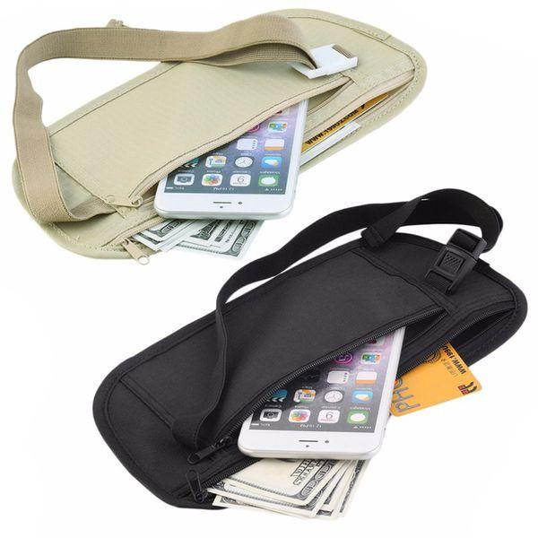 Cloth Travel Pouch Hidden Wallet Passport Money Waist Belt Bag Slim Secret Security Useful Travel Bag Running Mobile Phone