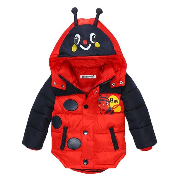 BOTEZAI Winter Boys Girls Bees Hooded Down Jacket Fashion Coat Children Clothes Jacket Kids Cotton Warm Outerwear Coat