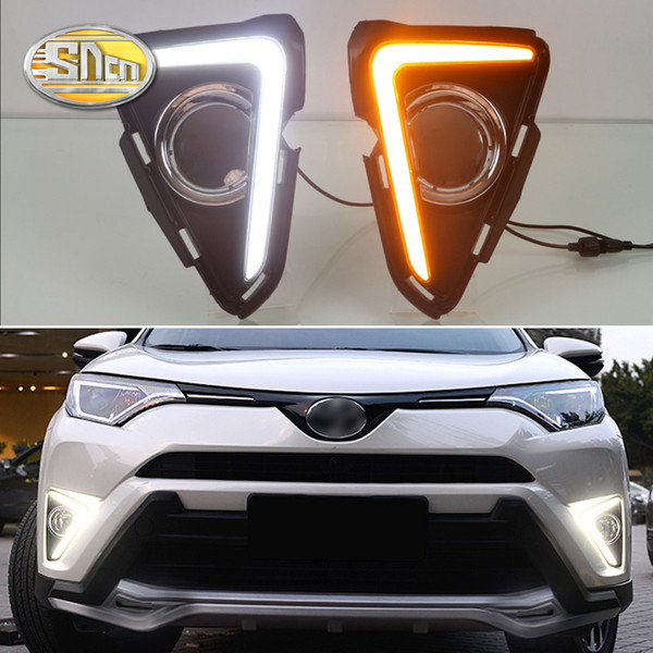 For Toyota RAV4 2016 2017,Yellow Turning Signal Waterproof ABS 12V Car DRL LED Daytime Running Light With Fog Lamp Hole SNCN