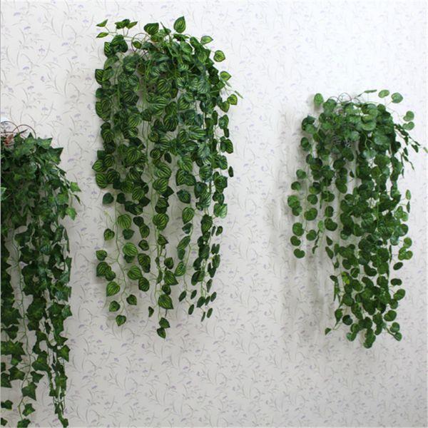 бесплатная доставка зеленый искусственные поддельные висит винограда завод листья листва цветок гирлянда Главная сад настенные украшения плющ виноградная лоза поставок