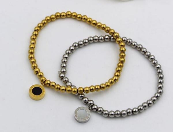 Bracciale in oro rosa titanio per bracciale in oro rosa titanio numero romano dei braccialetti a doppia fune in silicone bianco e nero