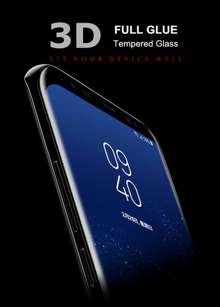 For Samsung Galaxy S9 S9 Plus Note 8 S8 S8 Plus Full Glue 3D Curved Full  Cover Tempered Glass Protector With Retail Package Glass Phone Screen