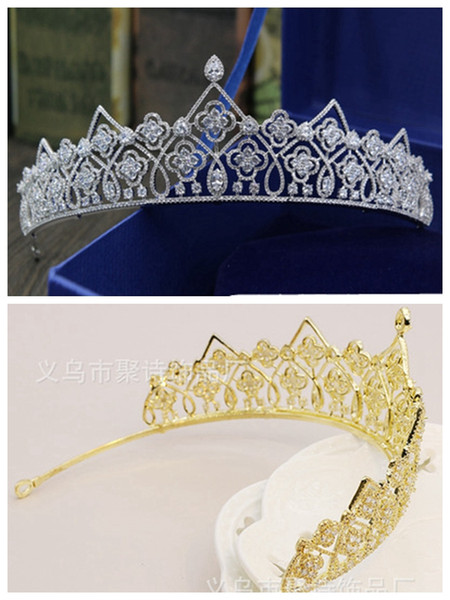 New European bride gold and silver two-color luxury zircon crown/Korean Princess Queen hair accessories/into the store to choose more styles